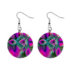 Crystal Flower Garden, Abstract Teal Violet Mini Button Earrings