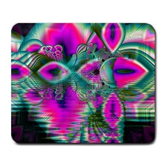 Crystal Flower Garden, Abstract Teal Violet Large Mouse Pad (rectangle)