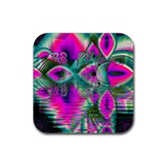 Crystal Flower Garden, Abstract Teal Violet Drink Coaster (square)
