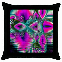 Crystal Flower Garden, Abstract Teal Violet Black Throw Pillow Case