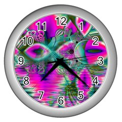 Crystal Flower Garden, Abstract Teal Violet Wall Clock (Silver)