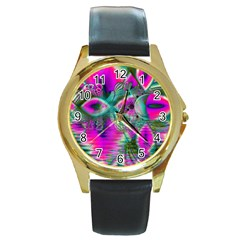 Crystal Flower Garden, Abstract Teal Violet Round Leather Watch (Gold Rim)