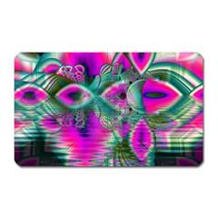 Crystal Flower Garden, Abstract Teal Violet Magnet (Rectangular)