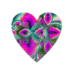 Crystal Flower Garden, Abstract Teal Violet Magnet (Heart)