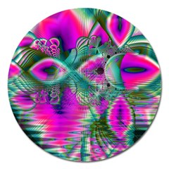 Crystal Flower Garden, Abstract Teal Violet Magnet 5  (Round)