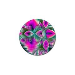 Crystal Flower Garden, Abstract Teal Violet Golf Ball Marker