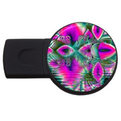 Crystal Flower Garden, Abstract Teal Violet 2gb Usb Flash Drive (round)