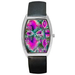 Crystal Flower Garden, Abstract Teal Violet Tonneau Leather Watch