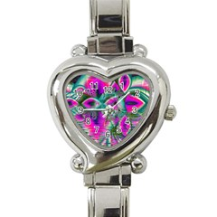 Crystal Flower Garden, Abstract Teal Violet Heart Italian Charm Watch