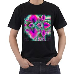 Crystal Flower Garden, Abstract Teal Violet Men s Two Sided T-shirt (Black)