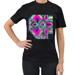 Crystal Flower Garden, Abstract Teal Violet Women s Two Sided T-shirt (Black)