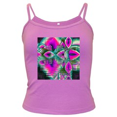 Crystal Flower Garden, Abstract Teal Violet Spaghetti Top (colored)