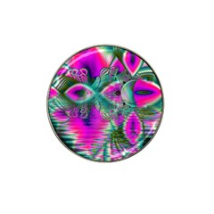 Crystal Flower Garden, Abstract Teal Violet Golf Ball Marker 4 Pack (for Hat Clip)