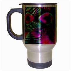 Crystal Flower Garden, Abstract Teal Violet Travel Mug (Silver Gray)