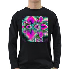 Crystal Flower Garden, Abstract Teal Violet Men s Long Sleeve T Shirt (dark Colored)