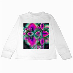 Crystal Flower Garden, Abstract Teal Violet Kids Long Sleeve T-Shirt