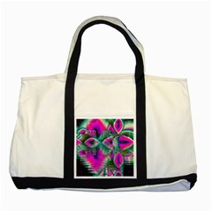 Crystal Flower Garden, Abstract Teal Violet Two Toned Tote Bag