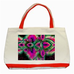 Crystal Flower Garden, Abstract Teal Violet Classic Tote Bag (Red)