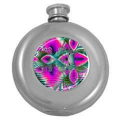 Crystal Flower Garden, Abstract Teal Violet Hip Flask (Round)
