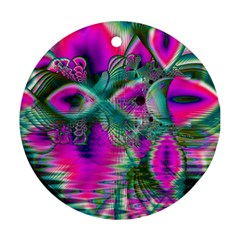 Crystal Flower Garden, Abstract Teal Violet Round Ornament (Two Sides)