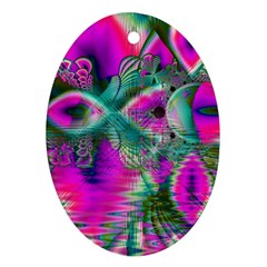 Crystal Flower Garden, Abstract Teal Violet Oval Ornament (Two Sides)
