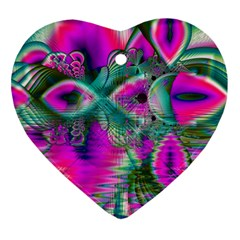 Crystal Flower Garden, Abstract Teal Violet Heart Ornament (Two Sides)