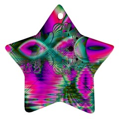 Crystal Flower Garden, Abstract Teal Violet Star Ornament (Two Sides)