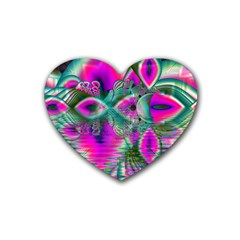 Crystal Flower Garden, Abstract Teal Violet Drink Coasters (Heart)