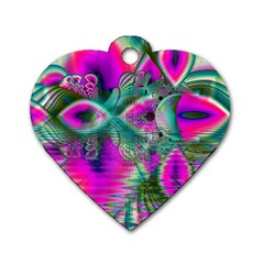 Crystal Flower Garden, Abstract Teal Violet Dog Tag Heart (One Sided)