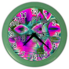 Crystal Flower Garden, Abstract Teal Violet Wall Clock (Color)