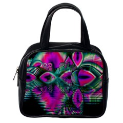 Crystal Flower Garden, Abstract Teal Violet Classic Handbag (one Side)