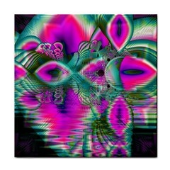 Crystal Flower Garden, Abstract Teal Violet Face Towel