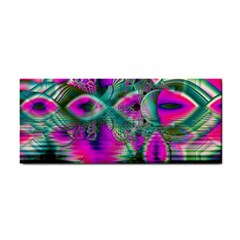 Crystal Flower Garden, Abstract Teal Violet Hand Towel