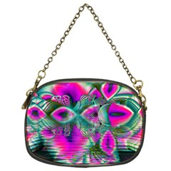 Crystal Flower Garden, Abstract Teal Violet Chain Purse (one Side)