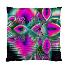 Crystal Flower Garden, Abstract Teal Violet Cushion Case (Two Sided)
