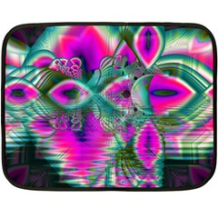Crystal Flower Garden, Abstract Teal Violet Mini Fleece Blanket (Two Sided)