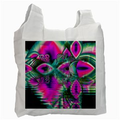 Crystal Flower Garden, Abstract Teal Violet White Reusable Bag (One Side)