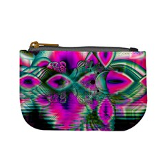 Crystal Flower Garden, Abstract Teal Violet Coin Change Purse