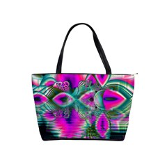 Crystal Flower Garden, Abstract Teal Violet Large Shoulder Bag