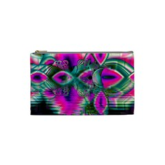 Crystal Flower Garden, Abstract Teal Violet Cosmetic Bag (small)