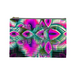 Crystal Flower Garden, Abstract Teal Violet Cosmetic Bag (Large)