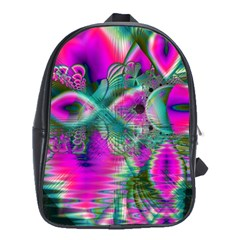 Crystal Flower Garden, Abstract Teal Violet School Bag (Large)