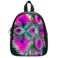 Crystal Flower Garden, Abstract Teal Violet School Bag (Small)