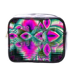 Crystal Flower Garden, Abstract Teal Violet Mini Travel Toiletry Bag (one Side)