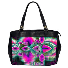 Crystal Flower Garden, Abstract Teal Violet Oversize Office Handbag (two Sides)