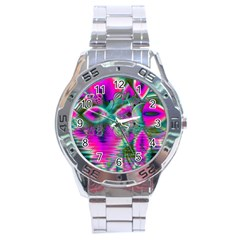 Crystal Flower Garden, Abstract Teal Violet Stainless Steel Watch