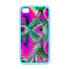 Crystal Flower Garden, Abstract Teal Violet Apple Iphone 4 Case (color)