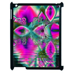 Crystal Flower Garden, Abstract Teal Violet Apple iPad 2 Case (Black)