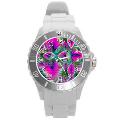 Crystal Flower Garden, Abstract Teal Violet Plastic Sport Watch (Large)