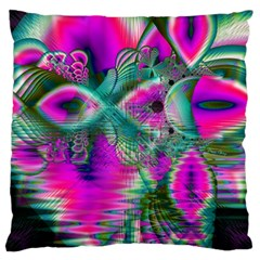 Crystal Flower Garden, Abstract Teal Violet Large Cushion Case (Single Sided)